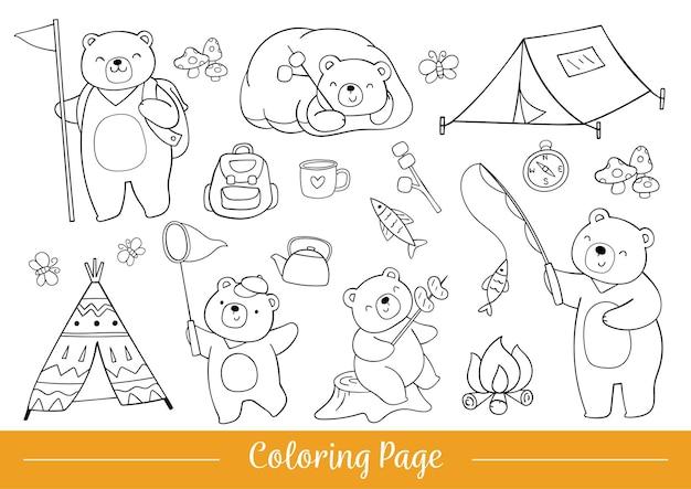 Página para colorir acampamento de verão urso fofo