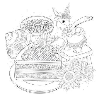 Página para colorir adulto de pastelarias