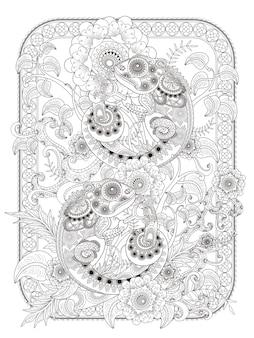 Página para colorir adulto do camaleão
