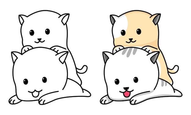 Página para colorir amigo gato casal para crianças