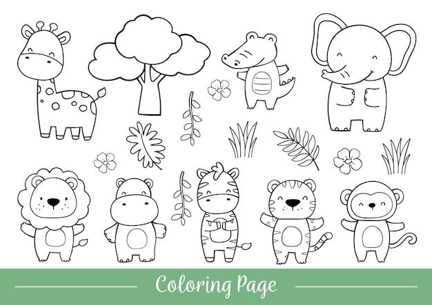 Página para colorir animais bonitos do safari doodle cartoon