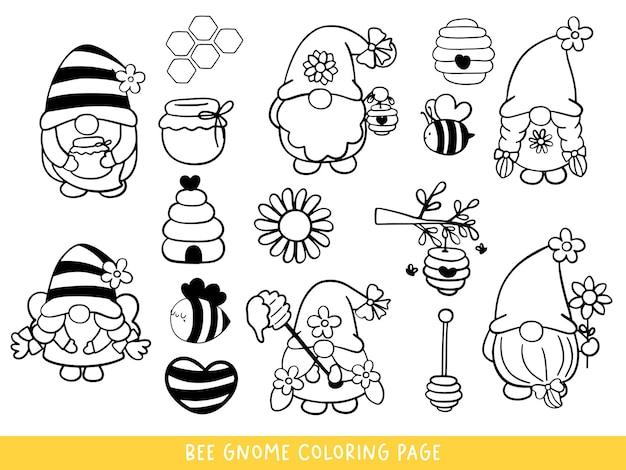 Página para colorir bee gnomes doodle bee gnome