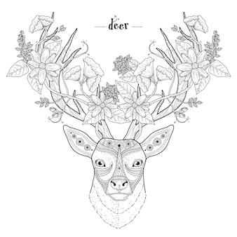 Página para colorir cabeça de veado elegante em estilo requintado