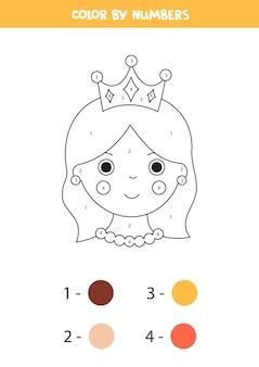 Página para colorir com a rainha dos desenhos animados por números. jogo educativo de matemática para crianças.