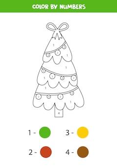 Página para colorir com árvore de natal. colorir por números. jogo de matemática.