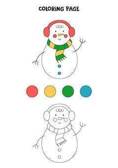 Página para colorir com boneco de neve de natal dos desenhos animados. folha de trabalho para crianças.