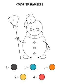 Página para colorir com bonito boneco de neve de natal com vassoura. colorir por números. jogo de matemática para crianças.