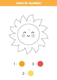 Página para colorir com bonito sol kawaii. colorir por números. jogo de matemática para crianças.