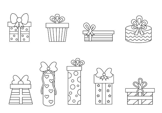 Página para colorir com caixas de presentes dos desenhos animados. conjunto de presentes preto e branco.