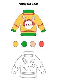 Página para colorir com camisola de natal dos desenhos animados. folha de trabalho para crianças.