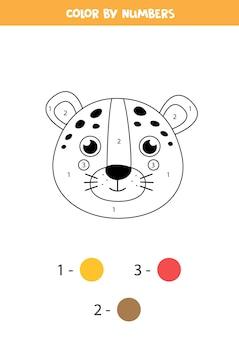 Página para colorir com cara de leopardo bonito. colorir por números. jogo de matemática para crianças.
