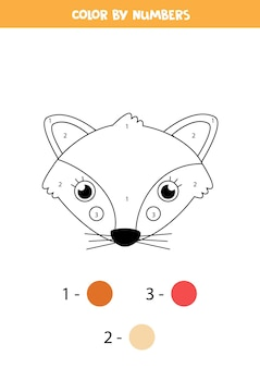 Página para colorir com cara de raposa bonita. colorir por números. jogo de matemática para crianças.
