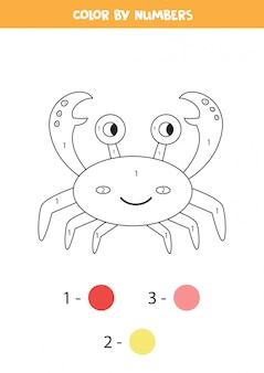 Página para colorir com caranguejo bonito dos desenhos animados. planilha para crianças.