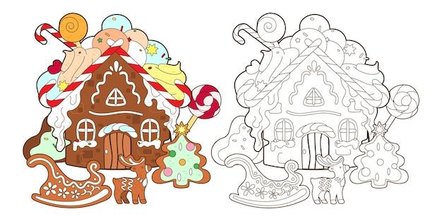 Página para colorir com casa de pão de mel, doces de natal e árvore de pão de mel de ano novo, vetorial, ilustração em estilo cartoon, arte em preto e branco para crianças