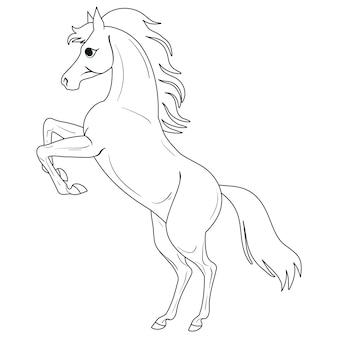 Página para colorir com cavalo pintura para crianças ilustração em vetor isolado