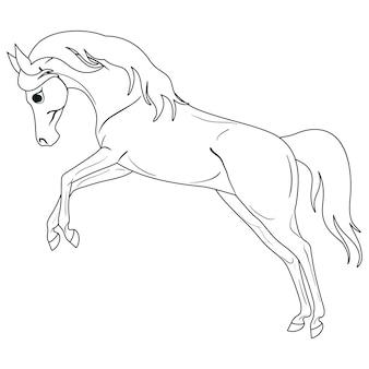 Página para colorir com cavalo. pintura para crianças.