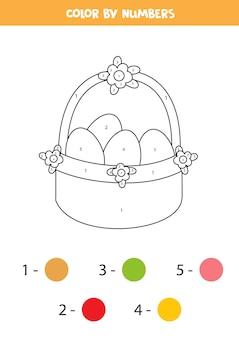 Página para colorir com cesta de páscoa dos desenhos animados. colorir por números. jogo de matemática para crianças.