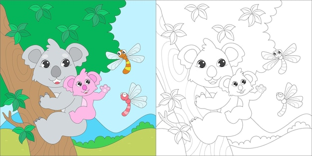 Página para colorir com coala
