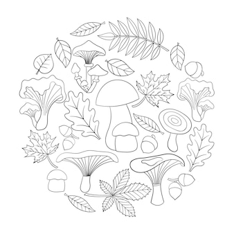 Página para colorir com cogumelos e folhas de outono em forma de círculo. ilustração vetorial para crianças e adultos