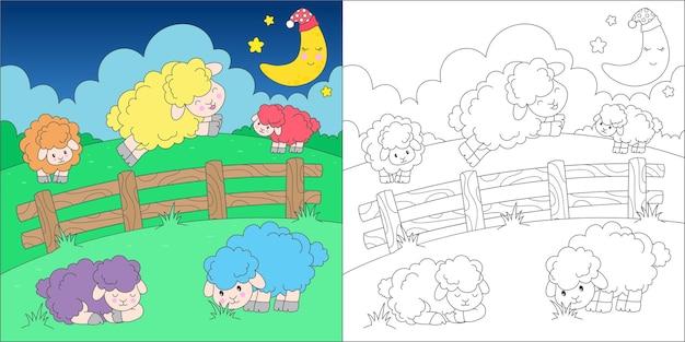 Página para colorir com contagem de ovelhas