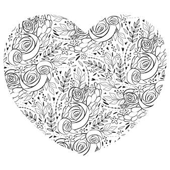Página para colorir com coração de forma. padrão no coração com rosas e folhas.