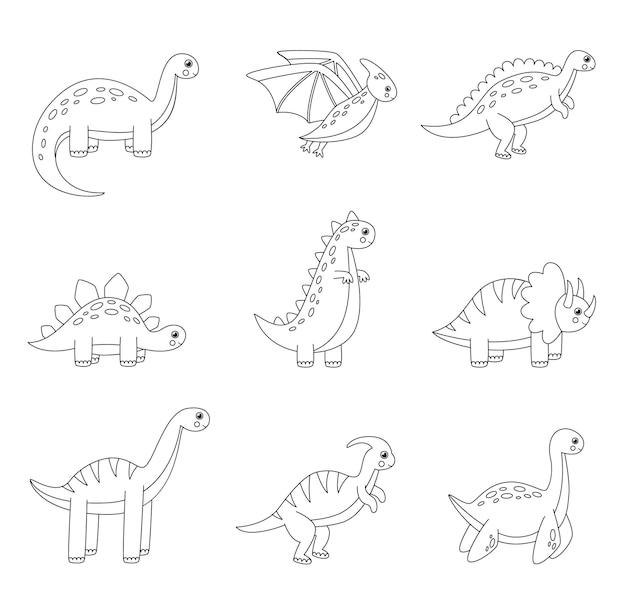 Página para colorir com dinossauros dos desenhos animados. conjunto de répteis pretos e brancos.