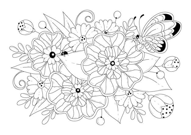 Página para colorir com flores e borboletas