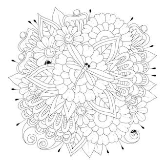 Página para colorir com flores, libélula e joaninhas