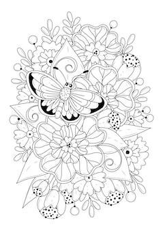 Página para colorir com flores