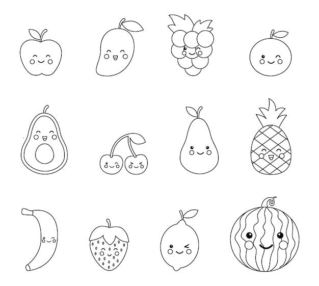 Página para colorir com fofos frutos e bagas kawaii. conjunto de frutas pretas e brancas.