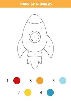 Página para colorir com foguete de desenho animado. colorir por números. jogo de matemática para crianças.