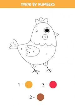 Página para colorir com galinha bonito dos desenhos animados. jogo de matemática para crianças
