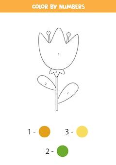 Página para colorir com linda flor de primavera. colorir por números. jogo de matemática para crianças.