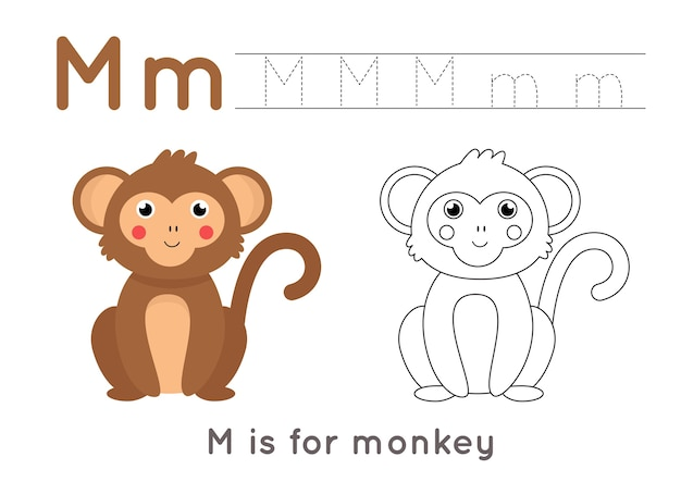 Página para colorir com macaco bonito dos desenhos animados. planilha de rastreamento de alfabeto com a letra m. prática de caligrafia para crianças.