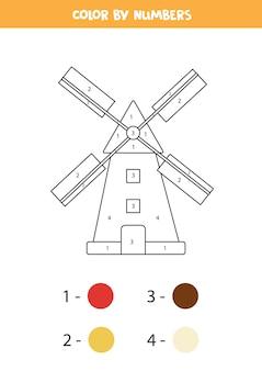 Página para colorir com moinho de desenhos animados. colorir por números. jogo de matemática para crianças.