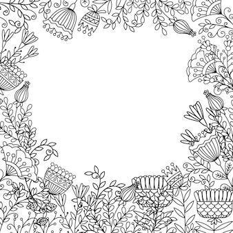Página para colorir com moldura de flores de doodle