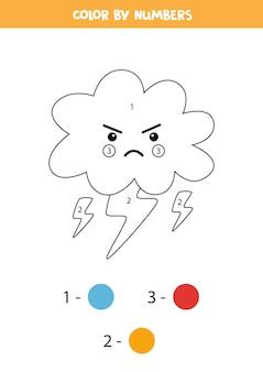Página para colorir com nuvem de tempestade kawaii. colorir por números. jogo de matemática para crianças.