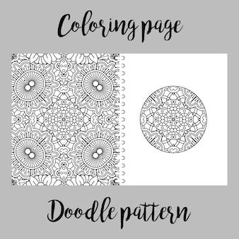 Página para colorir com padrão de doodle