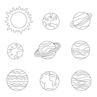 Página para colorir com planetas do sistema solar. imagem em preto e branco.