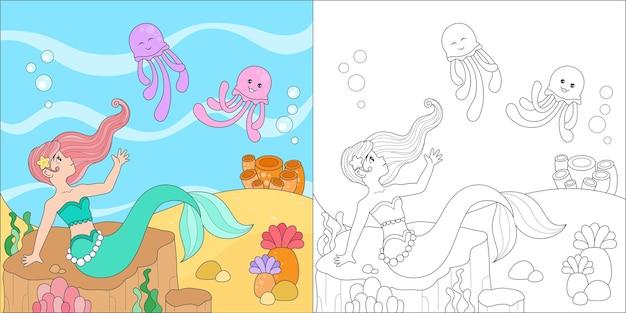 Página para colorir com sereia e água-viva
