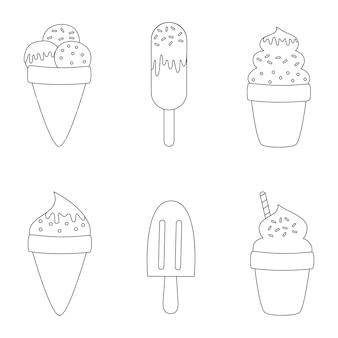 Página para colorir com sorvetes de desenho animado. conjunto de sorvetes preto e branco.