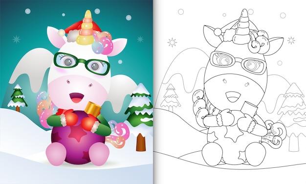 Página para colorir com tema de natal