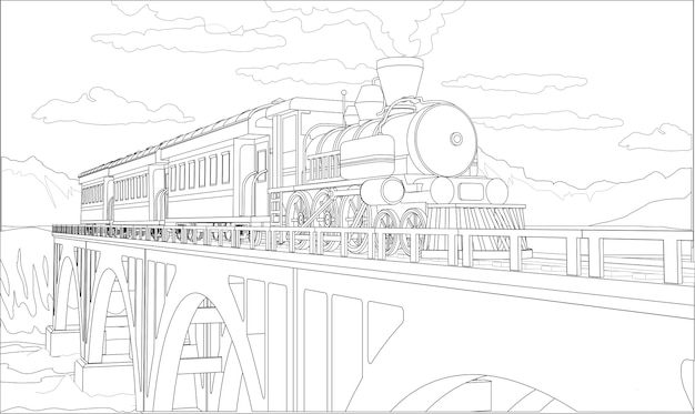 Página para colorir com trem modelo 3d na ponte. bela ilustração com viagens de trem. gráfico de trem retrô vintage.