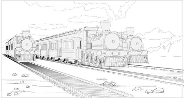 Página para colorir com trens de modelos 3d.