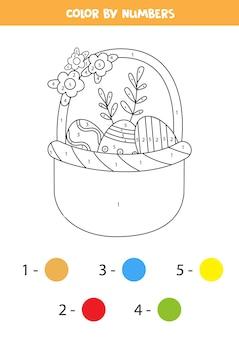 Página para colorir com uma cesta de páscoa cheia de ovos. colorir por números. jogo de matemática para crianças.