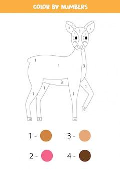 Página para colorir com veado bonito dos desenhos animados. cor por números.