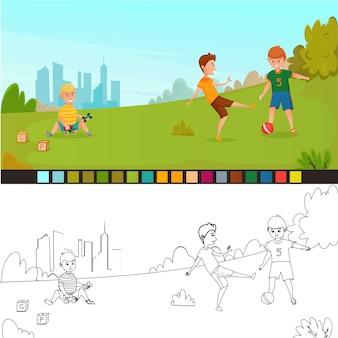 Página para colorir composição de crianças