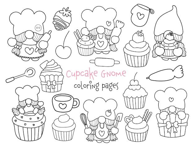 Página para colorir cupcake gnome