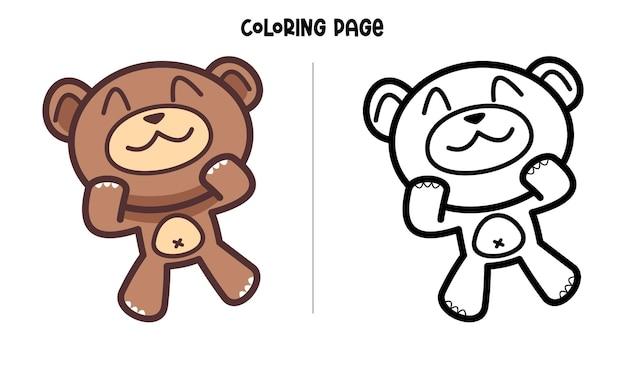 Página para colorir cute face brown bear Vetor Premium