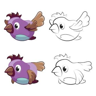 Página para colorir das crianças com pássaros voando dos desenhos animados